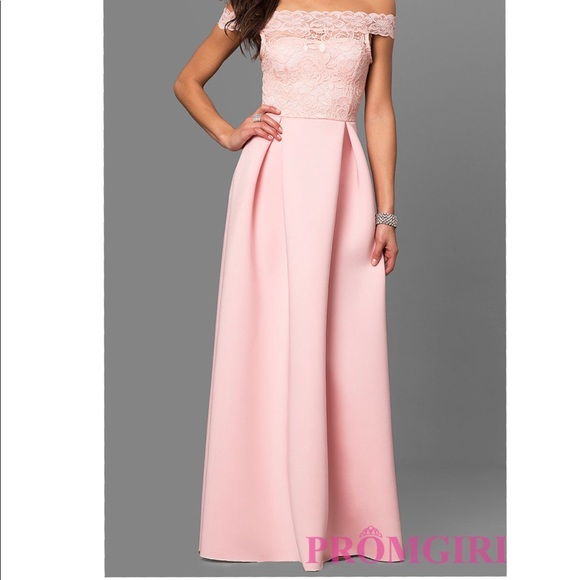 83% off PromGirl Dresses Long Offtheshoulder Prom Dress With Lace ...